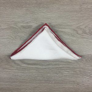 Nordstrom White w/ Red Trim Pocket Square